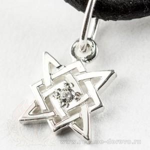 Звезда Сварога из серебра с фианитом